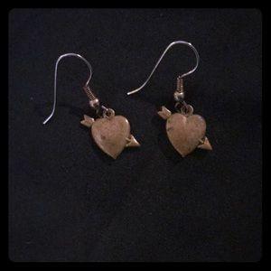 Jewelry - Vintage Heart Struck Dangle Earrings